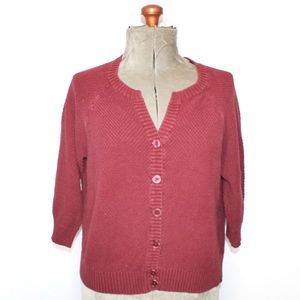 🎀 Jessica Red Knit 3/4 Sleeve Button Up Cardigan